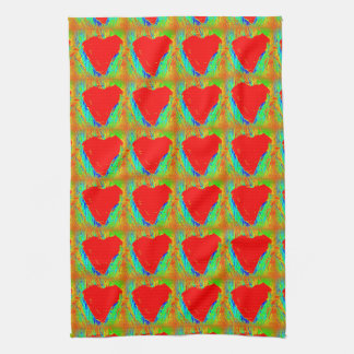 red hearts on green kitchen towel