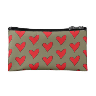 Red Hearts on Khaki Makeup Bag