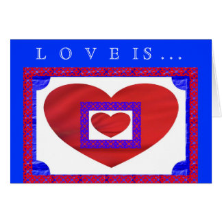 Red Hearts on White and Blue w Lattice Greeting Card