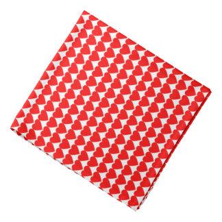 Red Hearts on White Bandana
