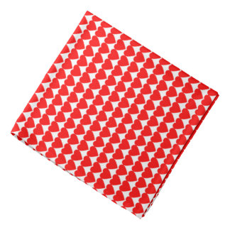 Red Hearts on White Bandannas