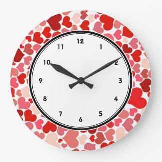 Red hearts pattern large clock