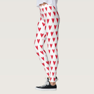 Red Hearts Pattern | Leggings