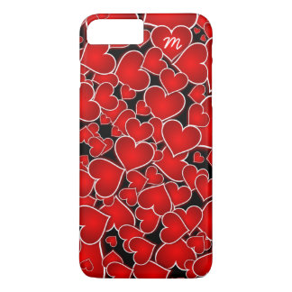 Red Hearts Pattern on Black Monogram iPhone Case