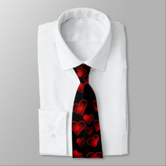 Red Hearts Pattern On Black Valentines Day Tie