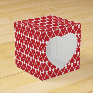 Red Hearts Pattern on White Favour Box