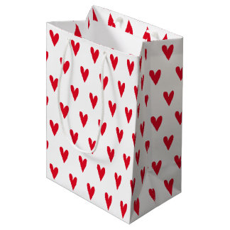 Red Hearts Pattern   Romantic Medium Gift Bag