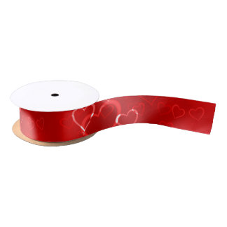 Red Hearts Pattern Satin Ribbon