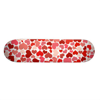 Red hearts pattern skate boards