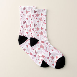 Red Hearts Pattern Valentine Socks 1