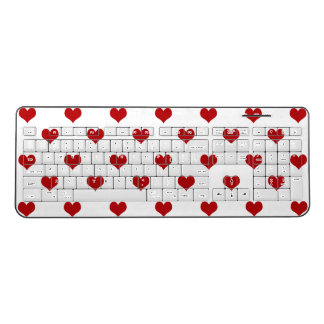 Red Hearts Pattern Wireless Keyboard