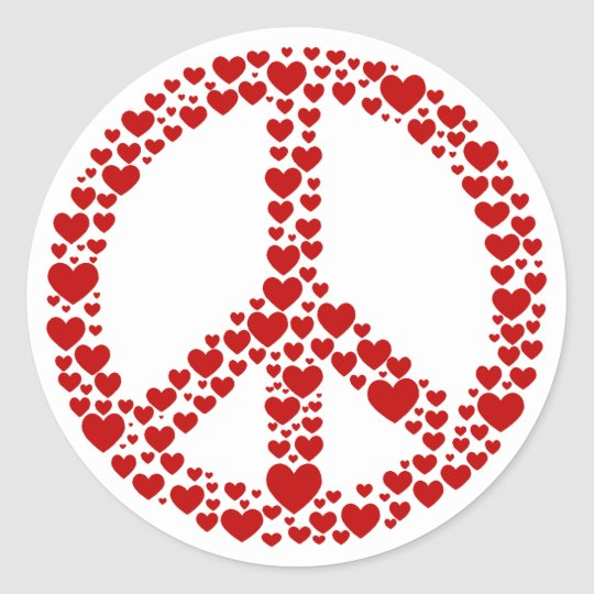 Red Hearts Peace Sign Sticker