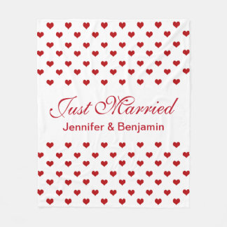 Red Hearts Personalized Names Just Married Wedding Fleece Blanket
