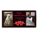 Red Hearts Photo Card Template