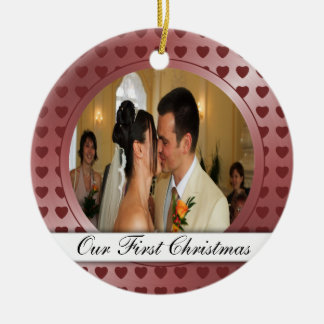 Red Hearts Photo Template First Christmas Round Ceramic Decoration