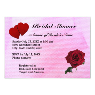 Red Hearts, Rose & Pink Textured Bridal Shower 13 Cm X 18 Cm Invitation Card