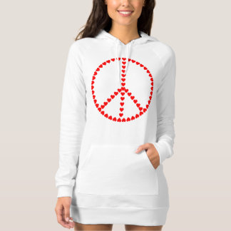 Red Hearts Round Peace Sign Dress