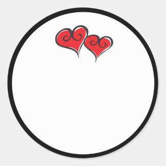 red-hearts round sticker