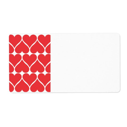 Red Hearts Shipping Label