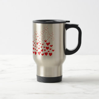 Red Hearts Stainless Steel Travel Mug
