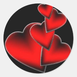 Red Hearts Round Sticker
