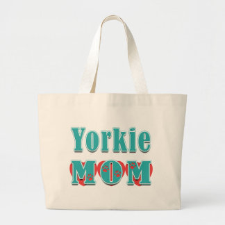 Red Hearts Teal Text Yorkie Mom Large Tote Bag