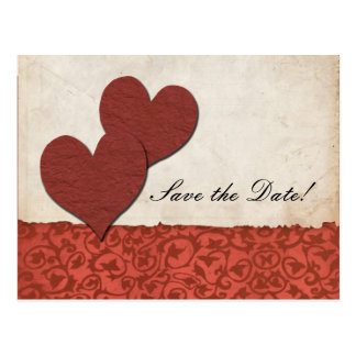 Red Hearts Torn Paper Wedding Save The Date Post Cards