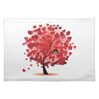 Red Hearts Tree Placemat