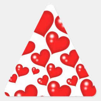 Red Hearts Triangle Sticker