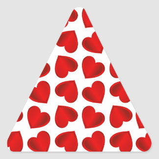 Red Hearts Triangle Sticker