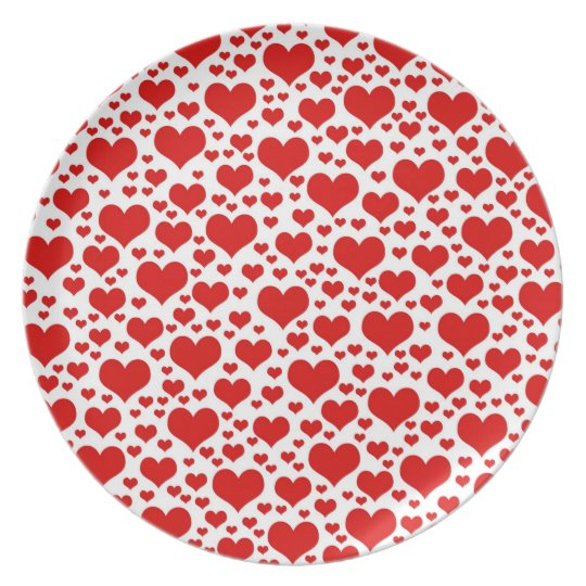 Red Hearts Valentine's Day Plate
