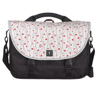 Red hearts vines laptop messenger bag