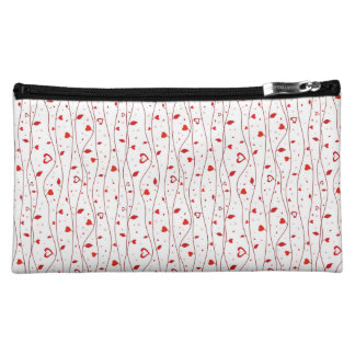 Red hearts vines makeup bags