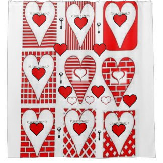 red hearts vintage red white showercurtain shower curtain