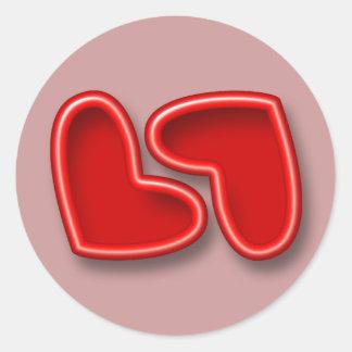 Red Hearts Wedding Seals Classic Round Sticker