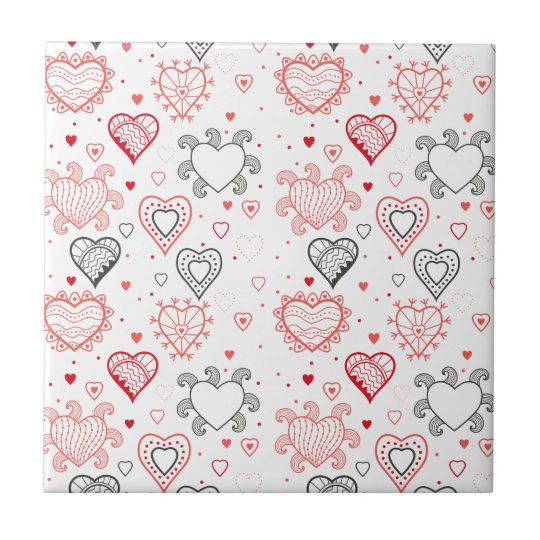 Red Hearts with Black Accents Pattern Small Square Tile