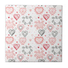Red Hearts with Black Accents Pattern Tile