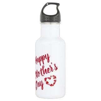 Red Hearts with Happy Mother's Day 532 Ml Water Bottle