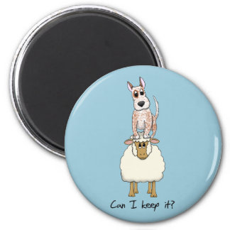 Red Heeler Backing Sheep 6 Cm Round Magnet