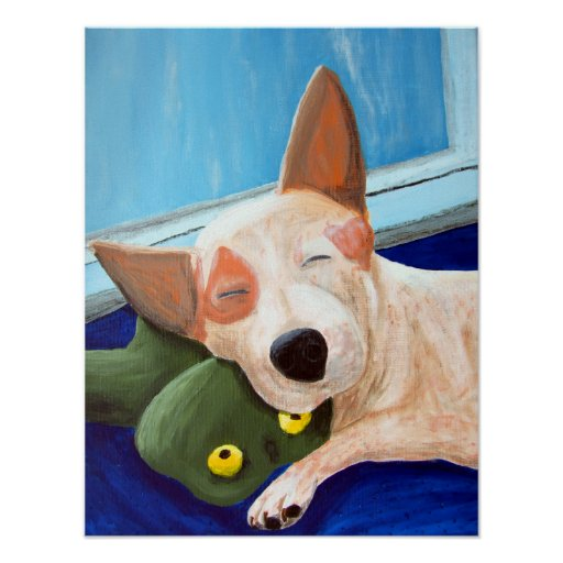 Red Heeler Cuddling Frog Painting Poster