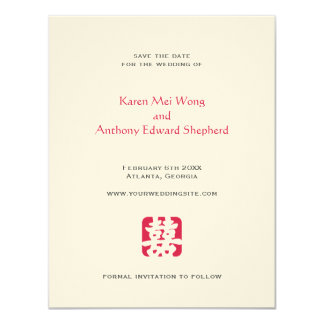 "Red hei Asian wedding save the date announcement 4.25"" X 5.5"" Invitation Card"