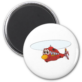 Red Helicopter Cartoon 6 Cm Round Magnet
