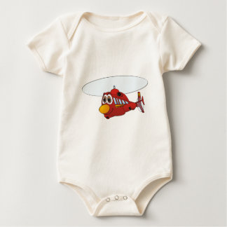 Red Helicopter Cartoon Baby Bodysuit