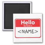 Red Hello My Name is , <NAME> Square Magnet