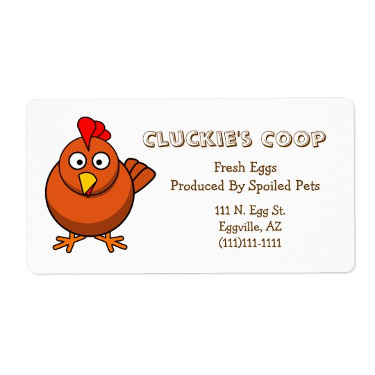 Red Hen Egg Label Shipping Label