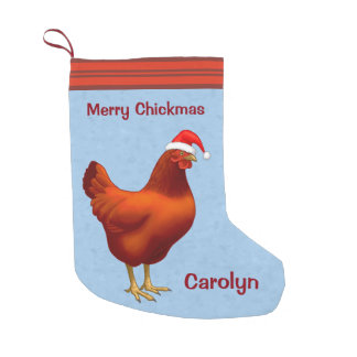 Red Hen in Santa Hat Merry Chickmas Small Christmas Stocking