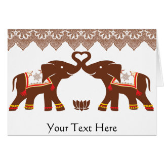 Red Henna Elephant Love Card