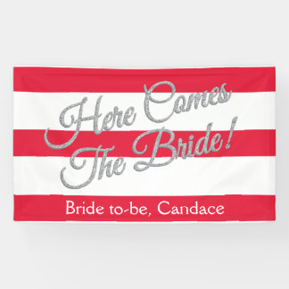 Red, Here Comes The Bride, Bridal Shower Banner