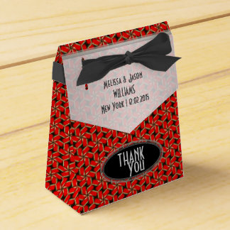 Red Hexagon Swirl Wedding Party Favor Box