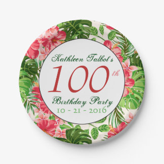 Red Hibiscus 100th Birthday Party Paper Plate